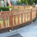 ornate redwood fence with lattice Livermore, CA