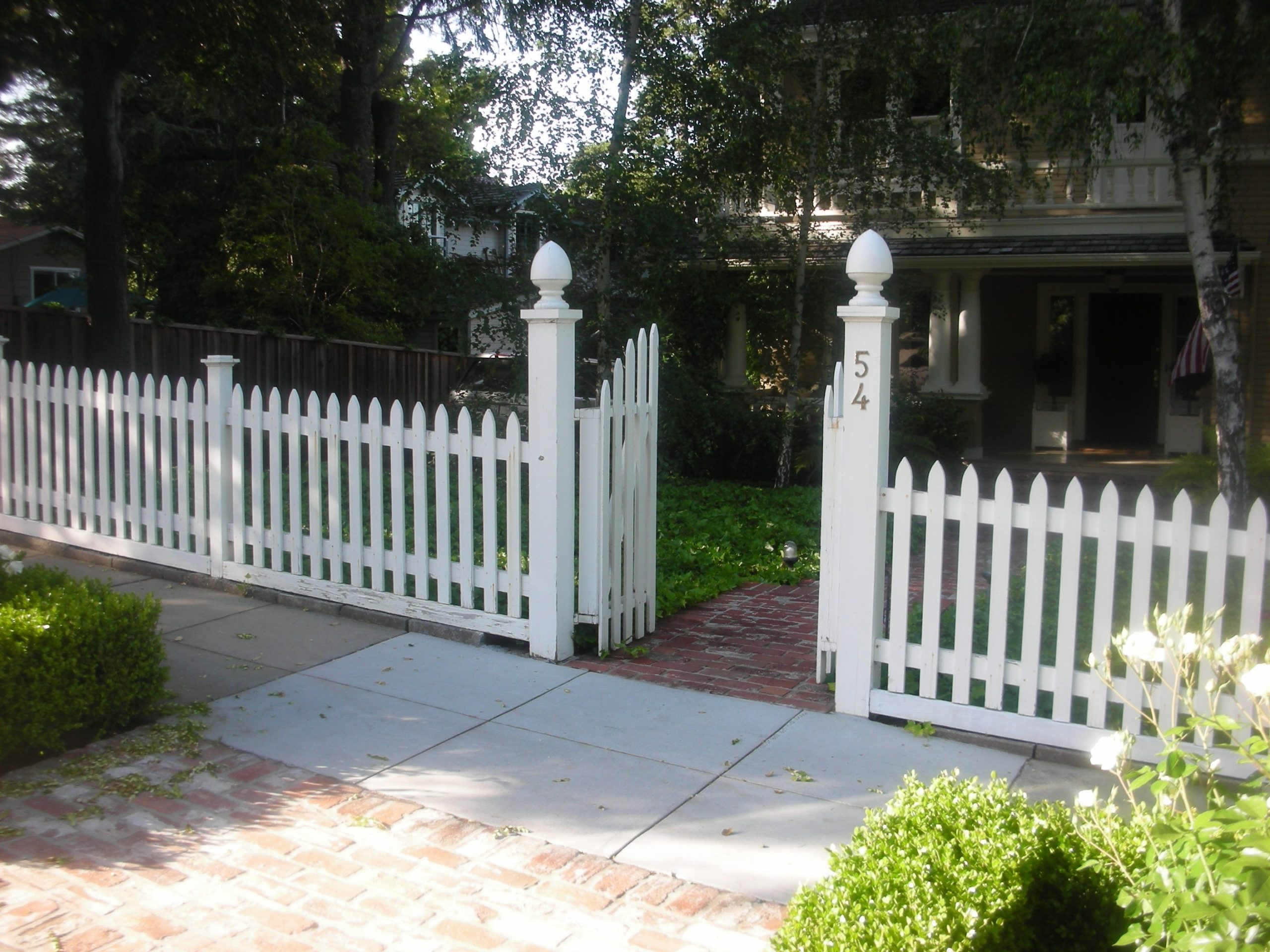 white picket fence with entry gate Moraga, CA