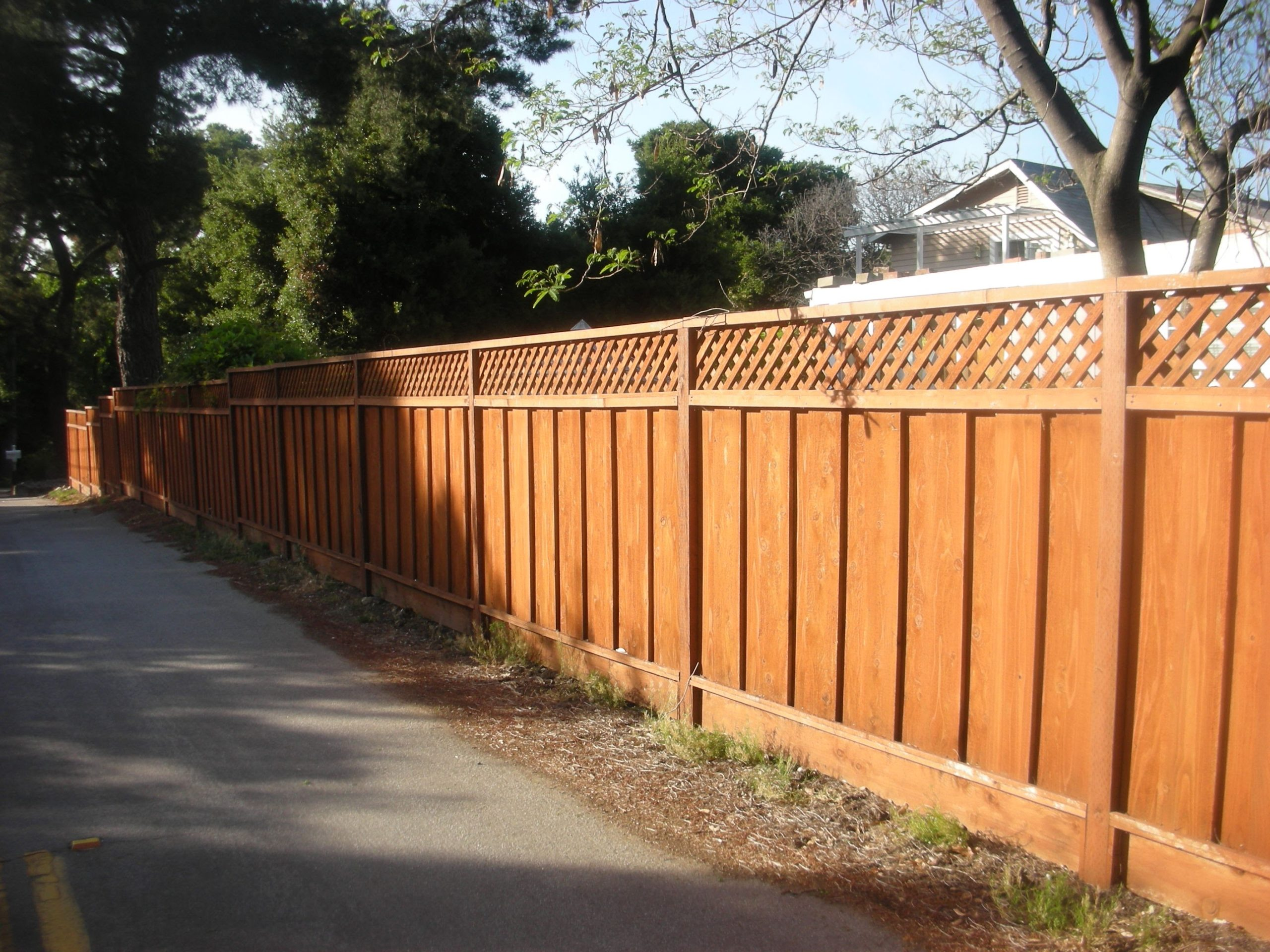 residential redwood fence with lattice Pittsburgh, CA
