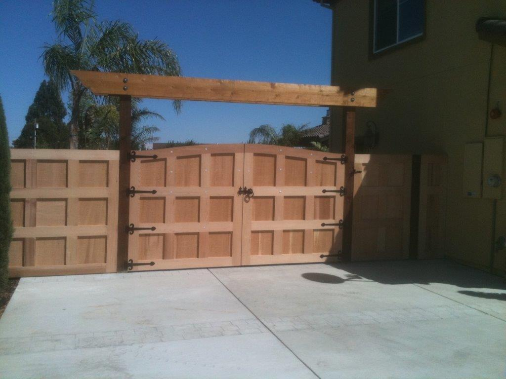 custom double gate with pergola Brentwood, CA