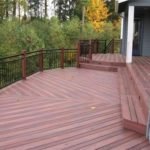 multilevel redwood deck iron railing with redwood posts Brentwood, CA