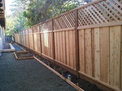 redwood good neighbor fence with lattice Brentwood, CA