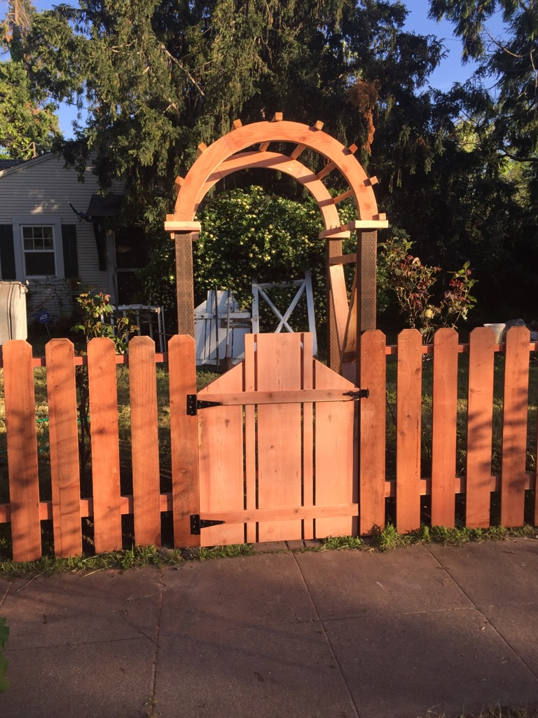 redwood picket fence unique gate walk through arbor Brentwood, CA