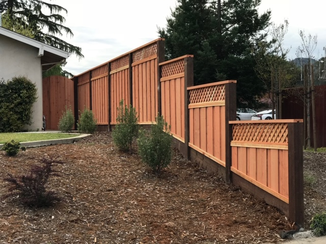 tiered redwood fence Walnut Creek, CA