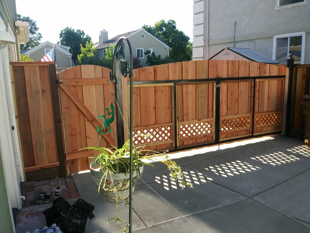 double residential redwood gate with side entry gate Oakley, CA