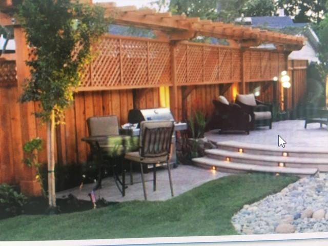 good neighbor fence with lattice and pergola Antioch, CA