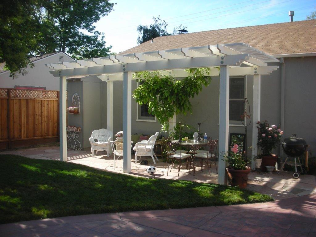 white pergola backyard San Jose, CA