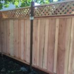 residential redwood fence with lattice Oakley, CA