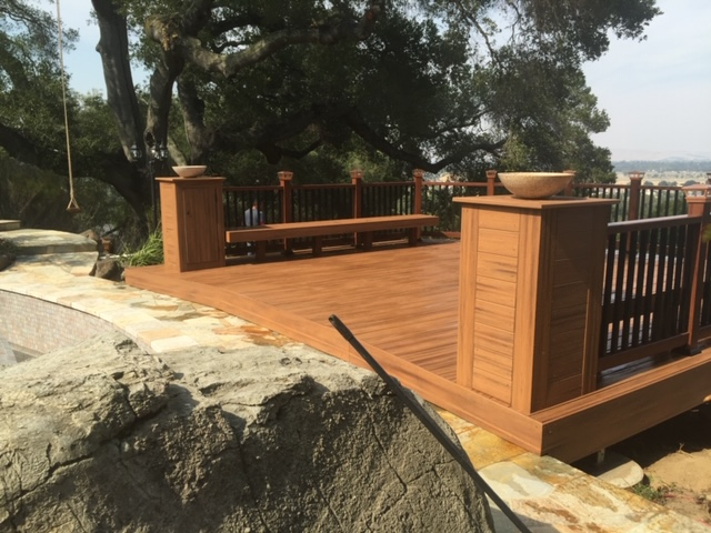 custom deck with seated railing Brentwood, CA