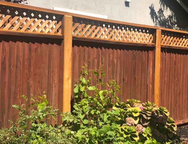 residential redwood fence with lattice 94513