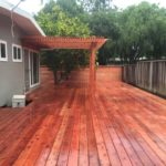 redwood backyard deck with pergola 94513