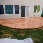 lacquered redwood backyard patio Fremon, CA