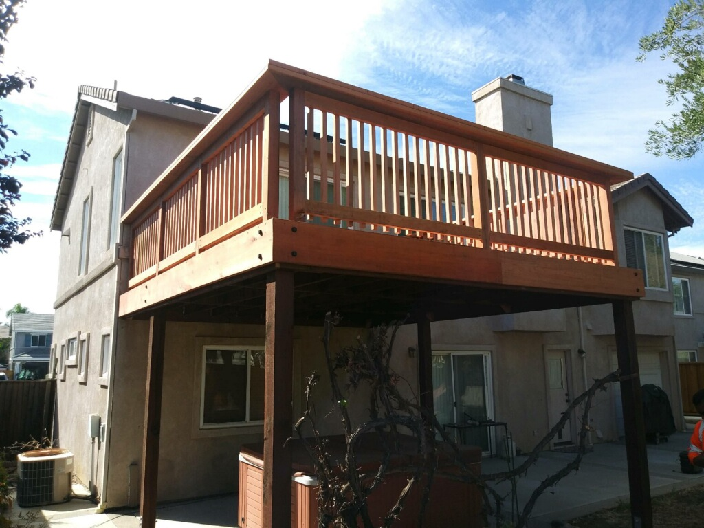 second story residential redwood deck Brentwood, CA