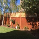 backyard redwood fence with lattice Mountain View, CA