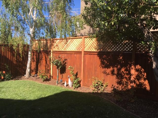 backyard redwood fence with lattice Mountain View, CA