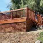 redwood deck on sloped property San Jose, CA