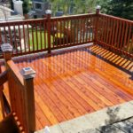 redwood deck with stairs and fence Tracey, CA