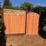 redwood gate fence with jumbo lattice Oakley, CA
